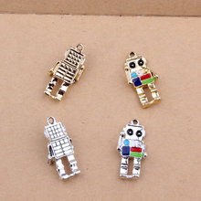 Pendant Charms Robot Carousel Mrhuang-Oil Diy-Bracelet Folating Metal Enamel 5pcs/Lot