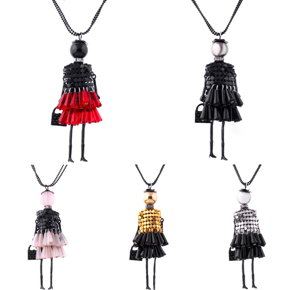2016 Brand doll Pendant Necklace Dress Doll Necklaces & Pendants Maxi collares Women Gift collier Statement Necklace Dropship