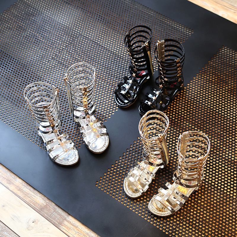 2019 Kids Girl Gladiator Sandals Summer Children's Sandals Korean Girls High-top High Tube Rivets Hollow Roman Shoes Boots
