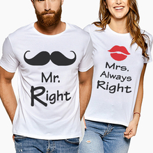 2019 New Summer Couplest Shirt Casual Styles Lovers Tee Tops Letter Print Mrs Always Right Cotton Female Clothing Clothes