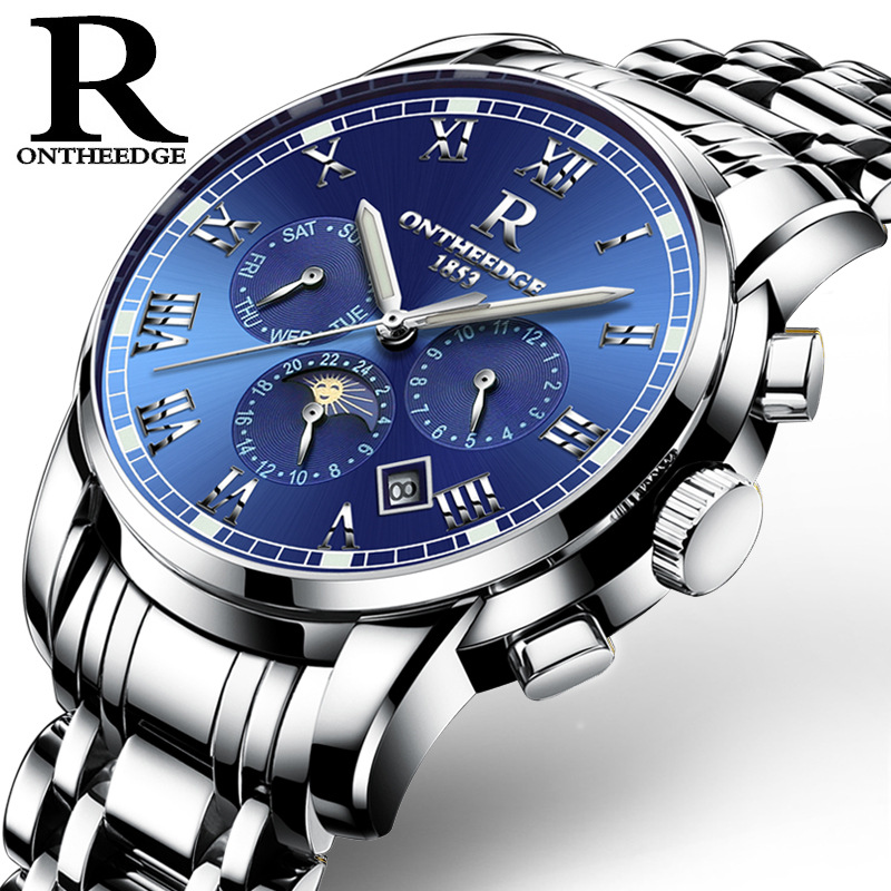 купить New Luxury Brand Multifunctional Automatic Mechanical Watch Men Full Steel Luminous Mens Watches Date Week Month Display Relogio дешево
