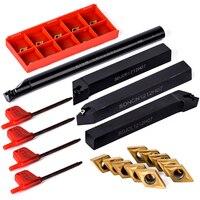 10Pcs DCMT070204 Carbide Inserts + 4Pcs 12mm Shank Alloy Steel Boring Bar Tool Holder + 4Pcs Wrench For Boring Tools