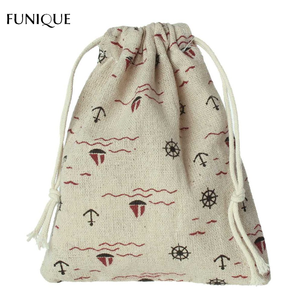 FUNIQUE 2Pcs/Set Wedding Favor Bags Boat Gift Bag Linen Drawstring ...