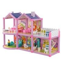 Miniaturas de móveis de casa de boneca grande diy blocos de casas de boneca em miniatura de madeira feitos à mão brinquedos boneca para crianças presentes de aniversário