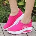 2016 mulheres sapatos casuais altura crescente sapatos de verão mulher balanço respirável sapatos moda casual para as mulheres altura crescente