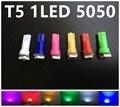 Горячие Солевые 50 шт. T5 0.14 Вт 9LM 3528 LED Синий Свет Лампы для Автомобилей парковка для укладки