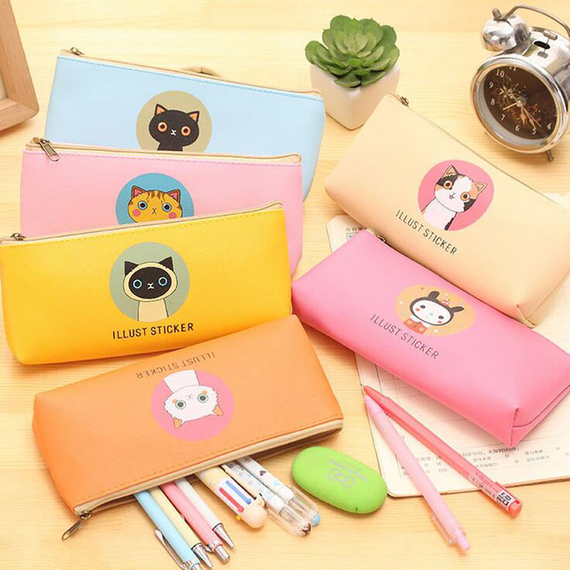 Kawaii Family Of Cat PU Waterproof Pen Bag Pencil Holder Storage Case School Supply Birthday Gift Cosmetic Makeup Travel
