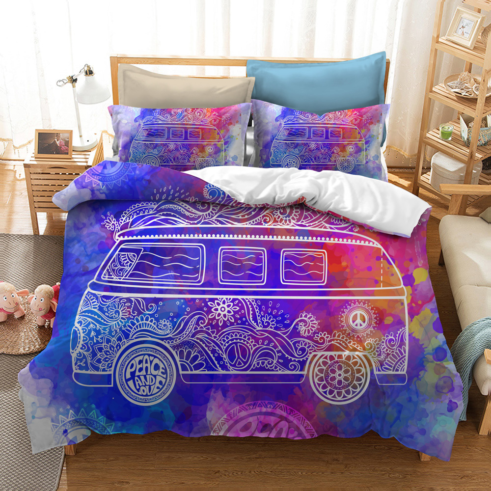 Hippie Peace Symbol Leaves and Design Color Hippie Peace Symbol Leaves Decorative Bedding Set (No Comforter)