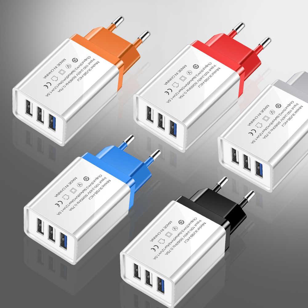 أولاف شاحن يو اس بي 5V3A 3 ميناء USB السفر USB مهايئ طاقة حائطي الاتحاد الأوروبي شاحن شحن لهواوي P20 لايت سامسونج شاحن USB للهاتف
