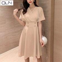 Dress Summer Vestidos Korean OLN Solid color wooden ear V-neck temperament new arrival dress