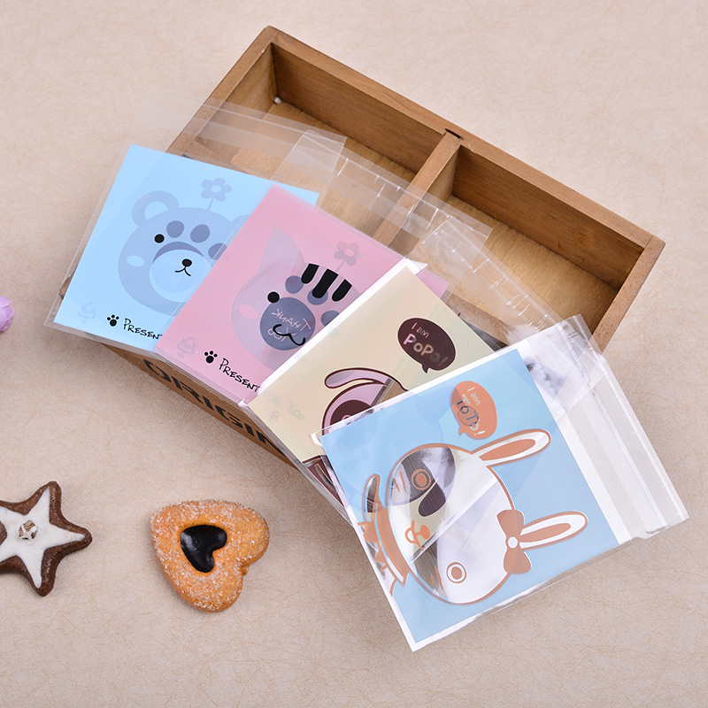Animal Cookie Candy bread packaging bags self-adhesive plastic bags for biscuits snack baking package