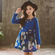 Girls dress 2019 spring and autumn new print pearl cotton belt long-sleeved childrens clothing