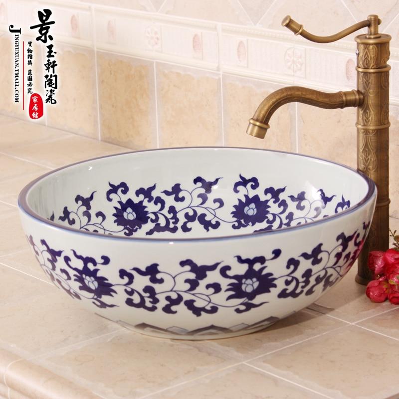 Art hand paint jingdezhen blue and white porcelain ceramic wash hand basins for bathroom jingdezhen ceramic lamps and lanterns of blue and white enamel thin waist drum desk lamp506