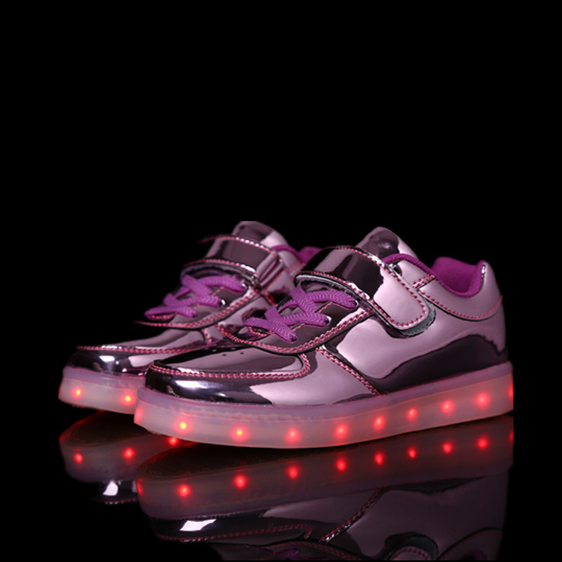 Glowing Sneakers Led-Shoes Children Usb-Charging-Shoes Flash Boy Gril Colorful
