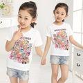 2017 summer barnd new big girls T-shirt children cartoon printing all-match short sleeved T-shirt girl clothes 10-13 years child