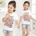 2017 verano nuevo barnd grande Camiseta de las muchachas niños de dibujos animados de impresión todo-fósforo de manga corta T-shirt ropa de la muchacha 10-13 años niño