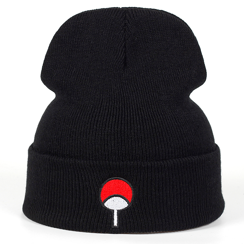 Anime Lovers   Beanie   Uchiha Family Logo Cotton Embroidery Akatsuki Winter Hat Knitted Hat   Skullies     Beanies   Hat Hip Hop Knit Cap