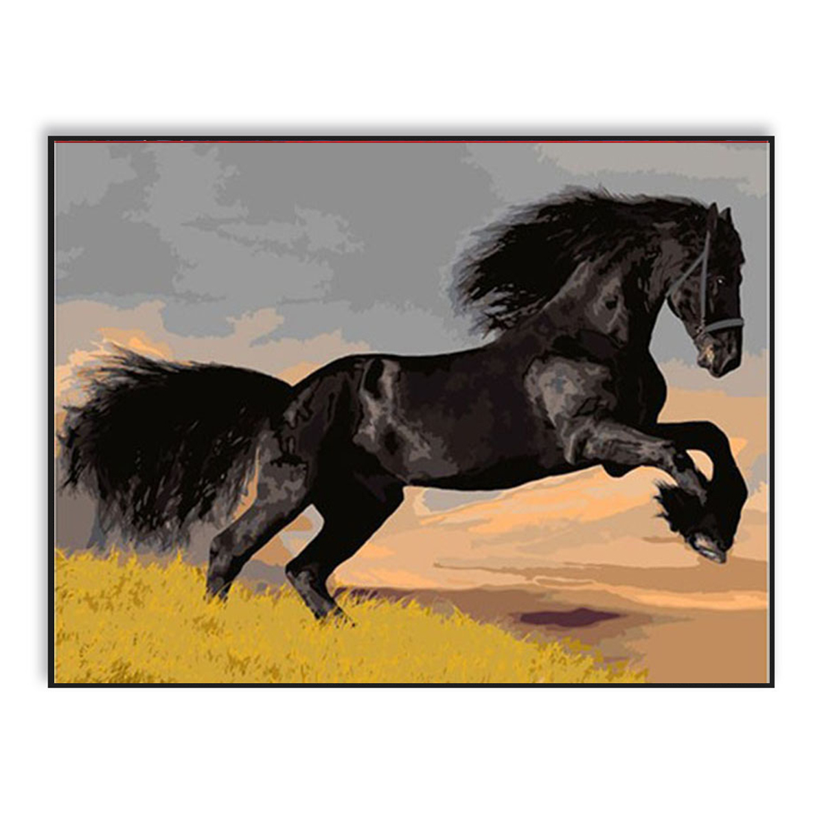 Running Black Horse DIY Painting By Numbers Paint On Canvas Kits Coloring By Numbers Wall Pictures For Living Room SZH-498