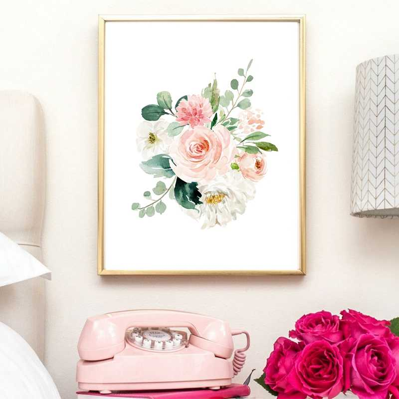 Blush Pink And Mint Floral Art Canvas Painting Wall Pictures Watercolor Pale Pink Floral Canvas Art Prints Girls Room Decor