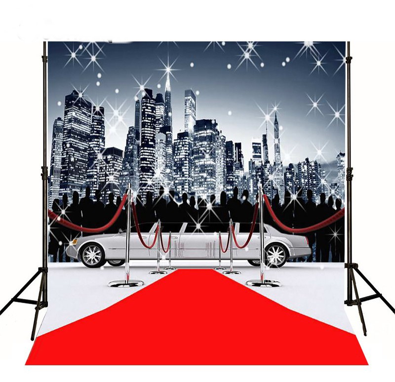Red Carpet Car City Skyline Backgrounds for sale Vinyl cloth High quality Computer printed party backdrops