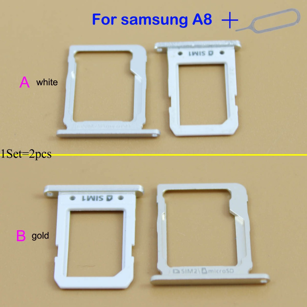 YuXi 1set=2pcs Sim Card Tray Slot For Samsung Galaxy A8 Single Sim Card Tray Slot Replacement
