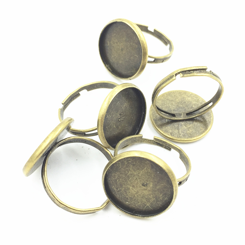20Pcs Bronze Tone Adjust Rings Round Alloy Fashion Jewelry DIY Making Findings Charms Craft 21x18mm For 16mm Cabochon