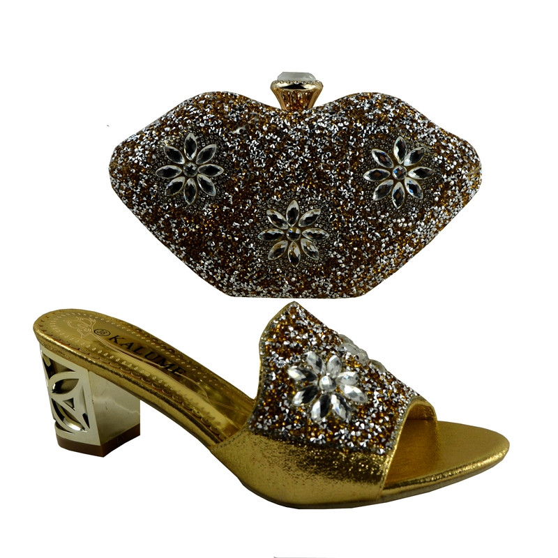 (No.1281)African shoe and bag high heel Italian shoe with matching bag/ladies matching shoe and bag Italy shoe and bag in gold