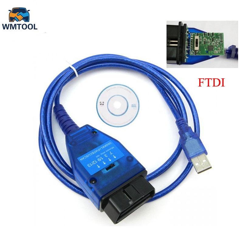Avec FTDI Puce Auto Voiture Obd2 Câble De Diagnostic pour VAG USB 409 VAG KKL Fiat VAG USB Interface De Voiture Ecu Scan Outil 4 Voies commutateur