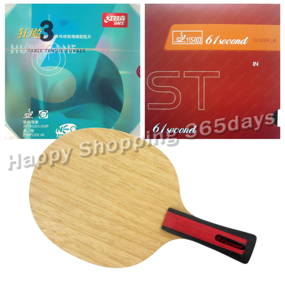 Combo Racket 61second 3004 Shakehand with LM ST and DHS NEO Hurricane 3 with a free small case Long Shakehand FL combo racket palio chop no 1 long shakehand fl with kokutaku 119 and bomb mopha professional shakehand long handle fl