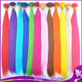 12 Ccolor 100pcs/lot Long Straight Feather Loop Hair Extension 20'' Grizzly Synthetic Ring I Tip Hair Hairpiece