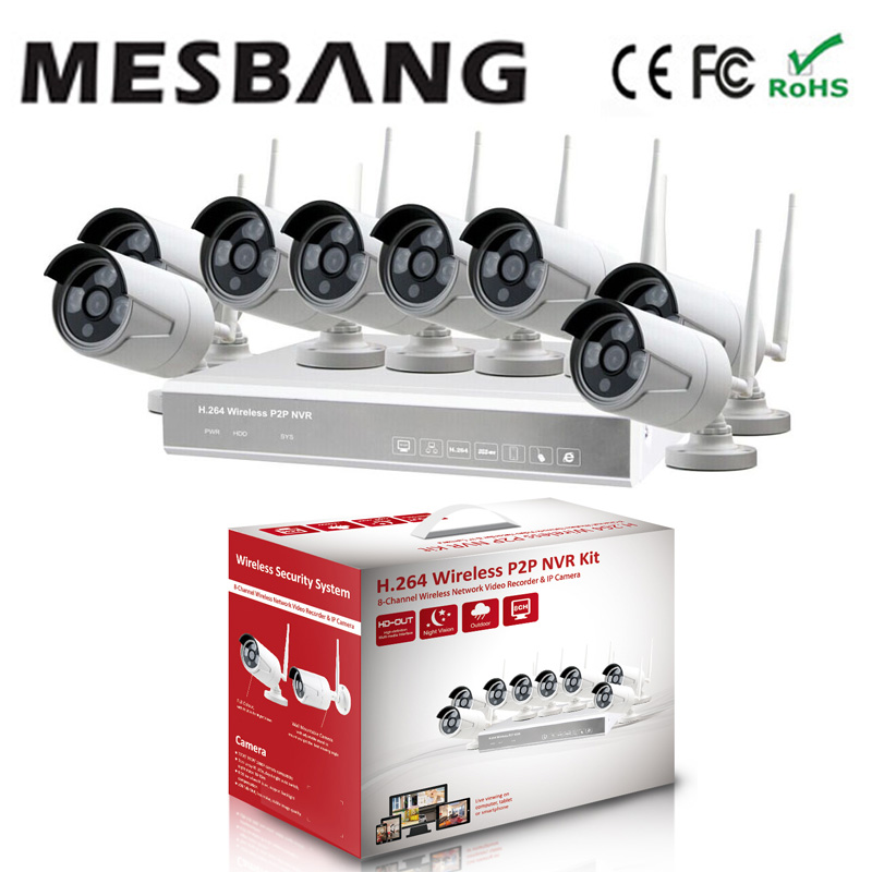 Mesbang  easy to installtion 720P 8 channel  wireless wifi IP security camera system free shipping by DHL mesbang 720p 4ch wireless ip camera nvr kit one key to set up easy installation free shipping fast