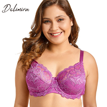 Delimira Women Full Coverage Underwired Non-Foam Plus Size Floral Lace Bra