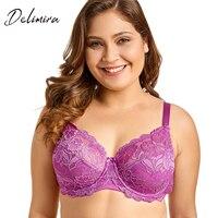 Delimira Women Full Coverage Underwired Non Foam Plus Size Floral Lace Bra