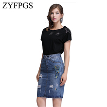 ZYFPGS 2019 Pencil Middle Skirt Wash Blue Denim Women Sexy Casual Summer Skirts Fashion New Ripped Hole Embroidery Bodycon L0506