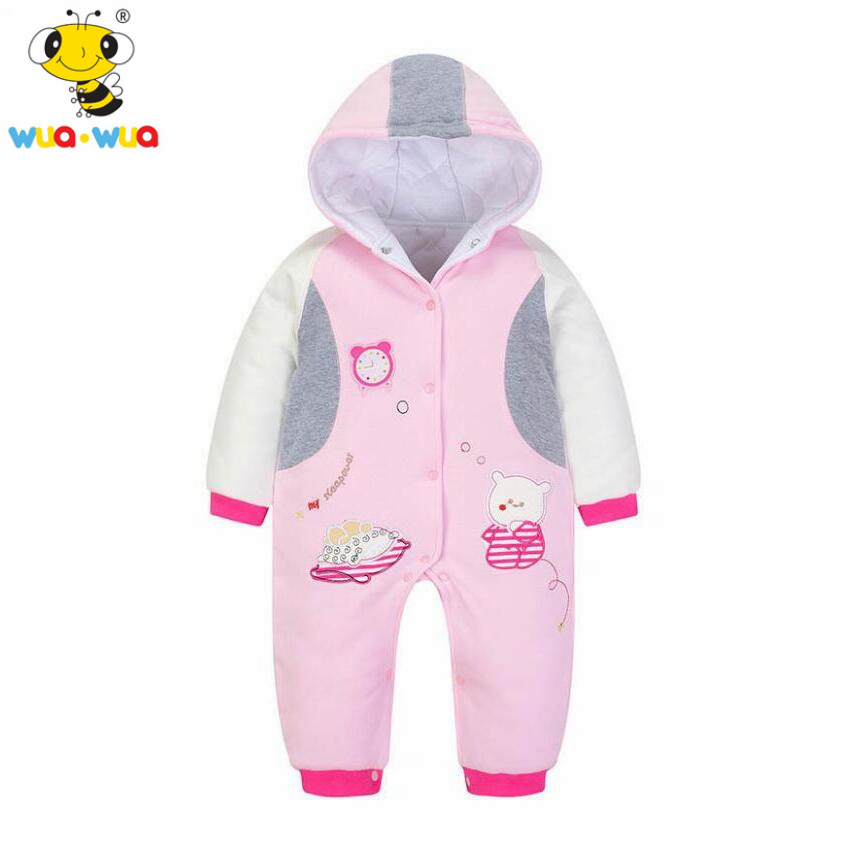 wuawua brand cotton fabric baby winter romper pink girls outerwear baby boy clothes infant girl costume winter overalls for kids 5pcs lot baby bodysuits original infant jumpsuits autumn overalls cotton coveralls boy girls baby clothing set cartoon outerwear