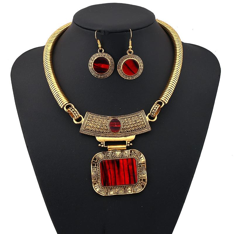 Fashion Vintage Rhinestone Big Red Gem Collar Tassel ...