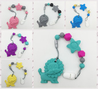 2016 Wholesale Detachable 2 In 1 Silicone Teething Pacifier Clip With Large Lion Pendant And Star