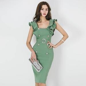 66beca6d065 WRZS Ruffle Bodycon Dress Women Summer femme 2018