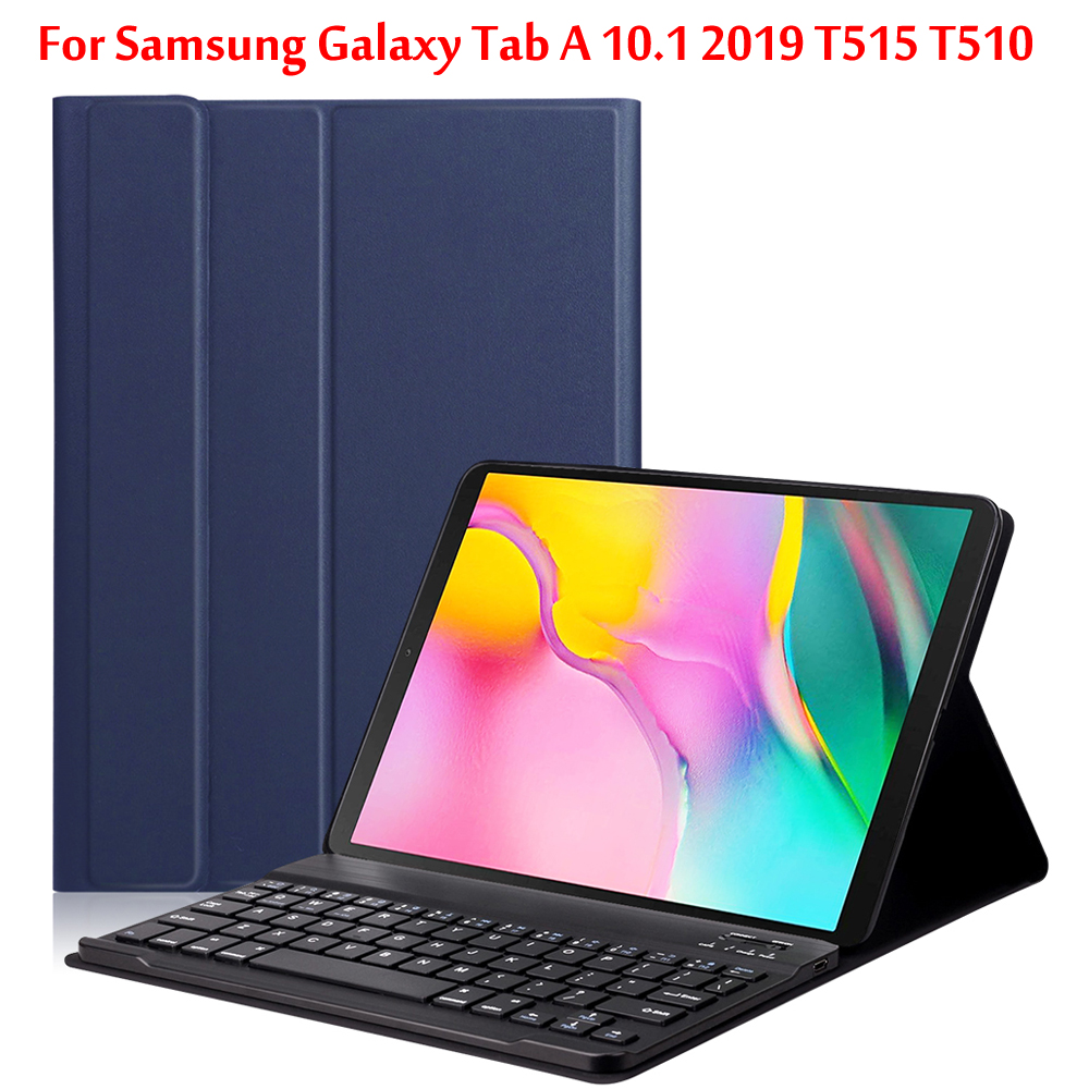 Bluetooth keyboard tablet case for Samsung Galaxy Tab A 10.1 2019 SM-T510 SM-T515 T510 T515 wireless keyboard tablet cover image