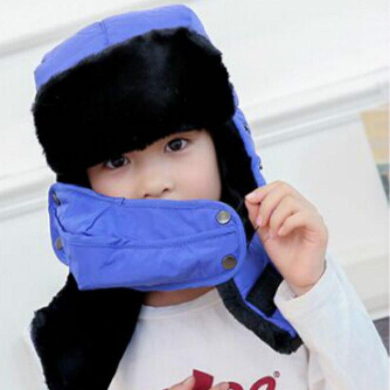 Которая в душе семья мех бомбер шляпа для женщин и мужчин ушные щитки Русская Шапка Детская уличная теплая утолщенная зимняя шапка с шарфом маска - Цвет: kids royal blue