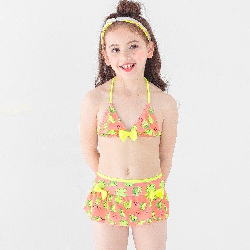 2018 Print Girl Halter Bikini Set Swimwear Children Cute Skirt Swimsuit Swim Bathing Suit Bather Skirt Teen Kid Baby Beach Wear girl