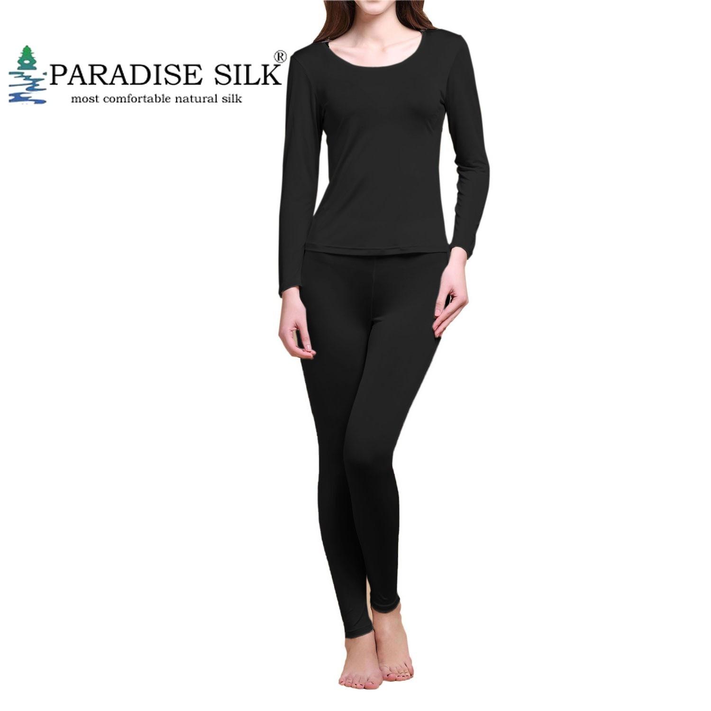 Women Long Johns Set 100% Pure Silk Knit Winter Thermal Underwear Set Size M L XL XXL