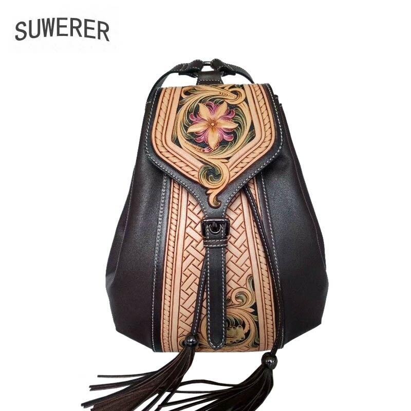 Hand C Rucksack Qualität black Frauen B Leder brown Geschnitzte A Suwerer 2019 Mode Designer Rindsleder Neue Luxus Tasche Echtem black Black w0XnCgZ