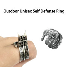 Outdoor Unisex Adult Self Defense Ring with Spike Women Anti-wolf Multifunction Invisibility Self-defense Tool(China)
