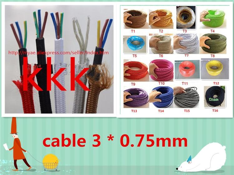 10m 20m /lot 3 cores colors fabric wire 3*0.75mm cable retro textile woven Color Twisted Wire textile cable 3 core woven textile design