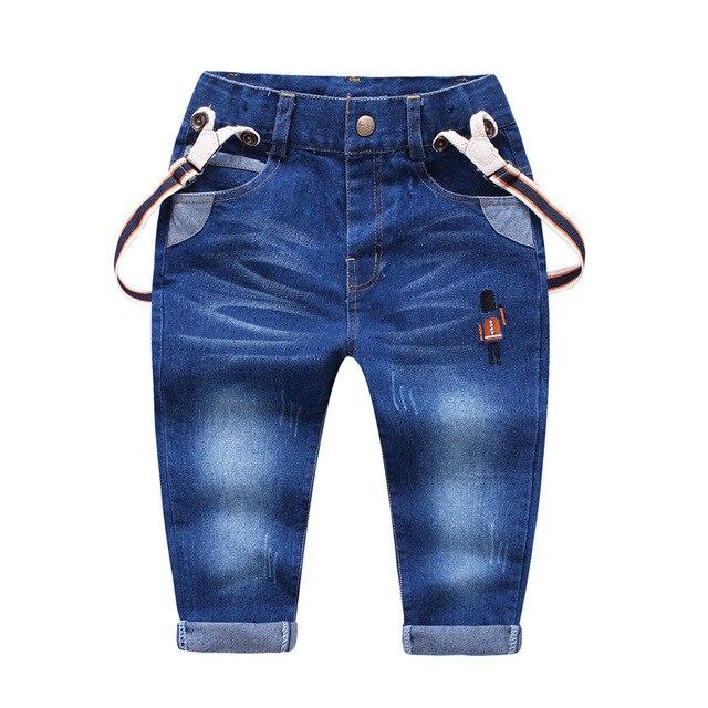 2017 New Spring Children Jeans Pants Cotton Straight Fashion Child Sports Pants Jeans Kids Brands Clothes Elastic Waist Trousers