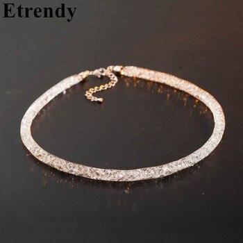 Maille cristalline Net Chaîne Maxi collier pour femmes 2019 bijoux tendance En Gros de Foulard Cadeau