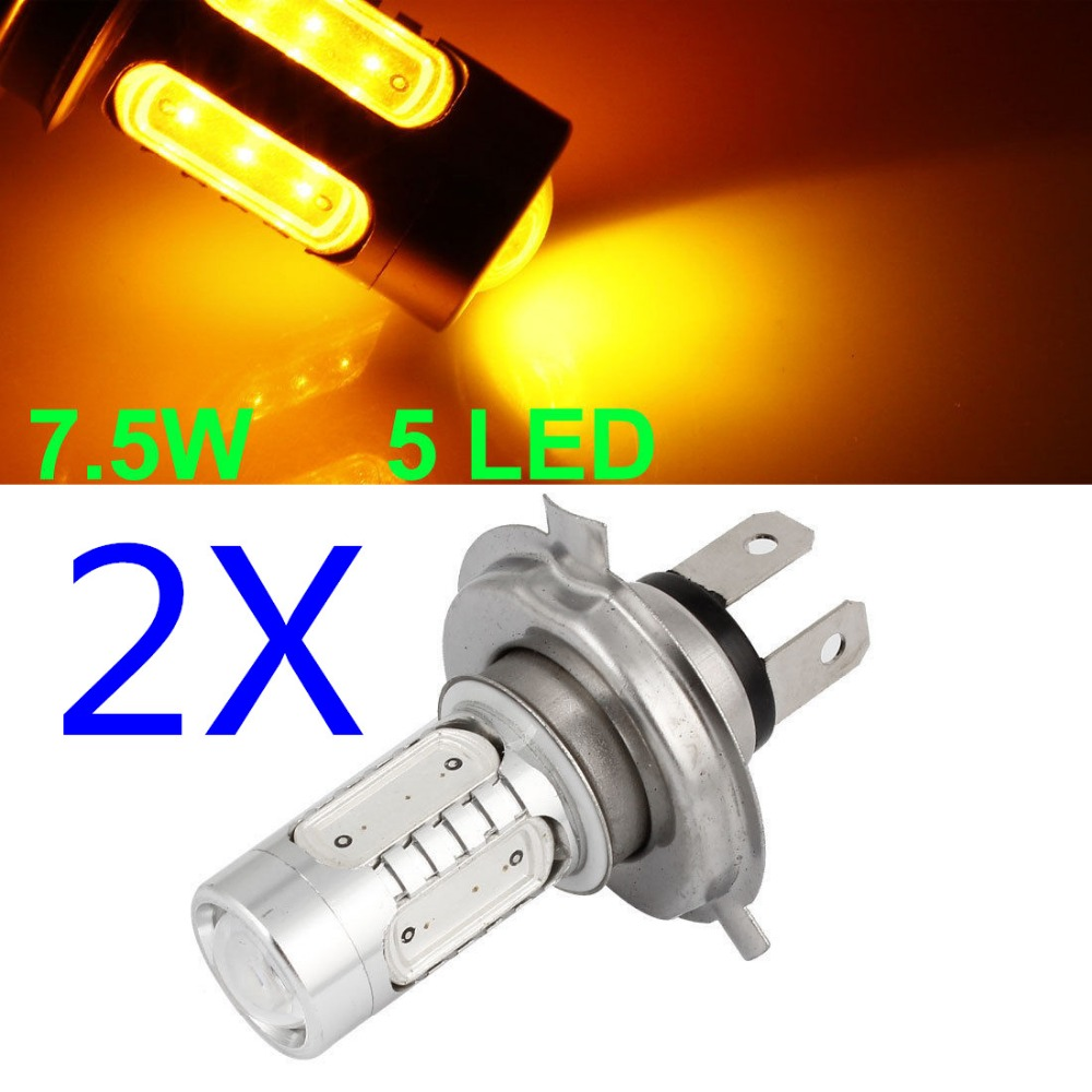 CYAN SOIL BAY 2X 7.5W High Power Lens Car Fog LED Bulb Lamp Daytime Running Light H4 9003 HB2 COB P43t High Low Beam Hi/lo Amber
