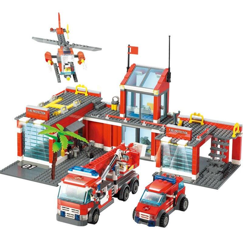 774 pièces Ville Caserne de pompiers Blocs Ensembles Pompier Combattant Technique Camion Voiture Briques Playmobil LegoINGLs Jouets pour Enfants