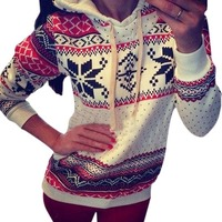 Autumn Winter Women Xmas Snowflake Sweatshirt Hoodies Sweats Fleece Pullover